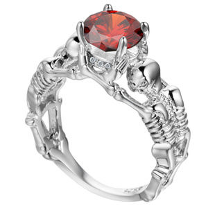 Jewelry - New Skeleton Skull Ring with Red Stone Sz 6